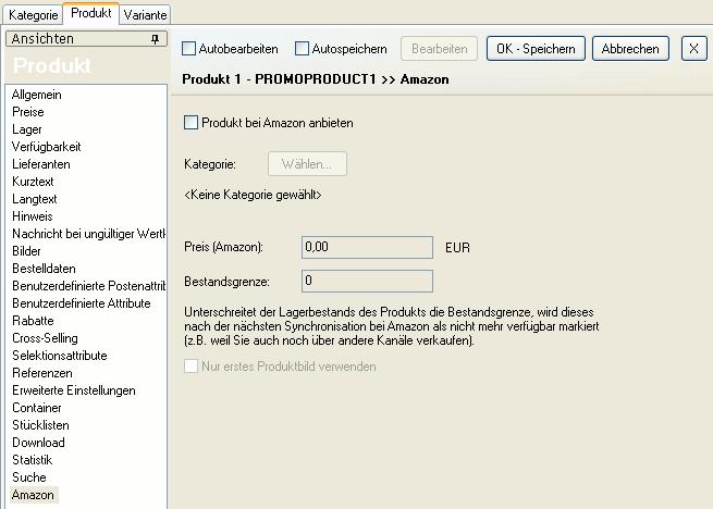 """Die Ansicht """"Amazon"""" des Produkts"""